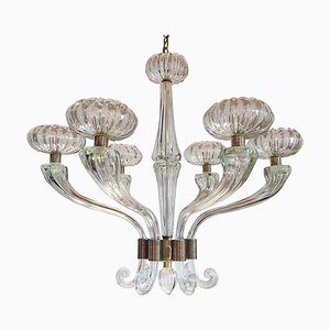 Large Mid-Century Clear Murano Glass Chandelier in the Style of Barovier & Toso, 1960s
