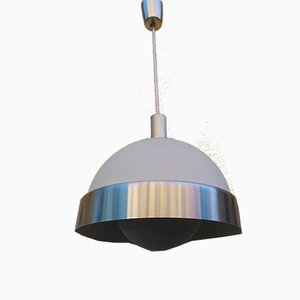 Aluminum, Frosted and Opaline Glass Ceiling Lamp by Oscar Torlasco for Lumi, 1960s