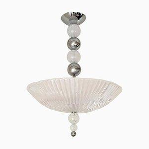Mid-Century Frosted Murano Glass and Chrome Chandelier Attributed to Barovier & Toso, 1970s