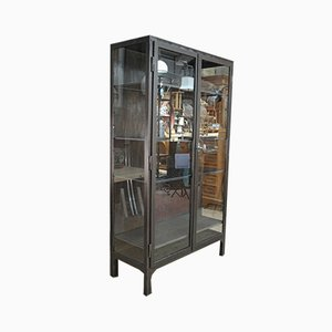 Vintage Industrial Metal and Glass Wall Unit, 1950s