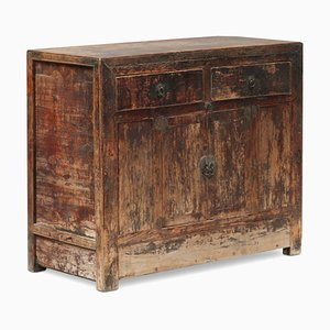Antique Chinese Elm End Cabinet