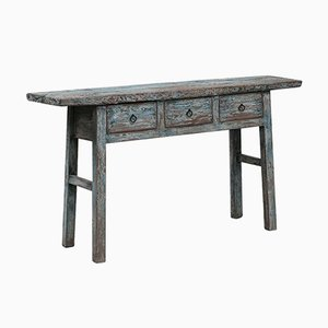 Antique Distressed Blue Console Table