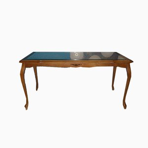 Mid-Century Chippendale Style Wicker and Glass Coffee Table