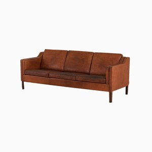 Vintage Danish Brown Leather 3-Seat Sofa in the Style of Borge Mogensen, 1970s