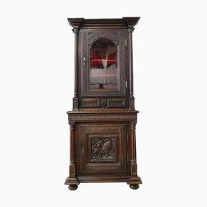 18th Century French Renaissance Carved Oak Vitrine Bookcase