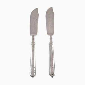 Couteaux à Poisson en Argent 830 avec Fleur Ciseaux, 1918, Set de 2