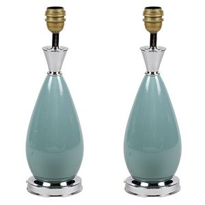 Table Lamps in Blue Porcelain and Silvered Brass, 1970s, Set of 2