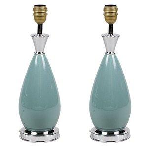 Tischlampen aus blauem Porzellan und versilbertem Messing, 1970er, 2er Set