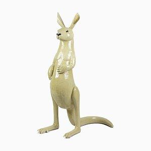 Glasierte Kangaroo Steingut Skulptur von Valérie Courtet