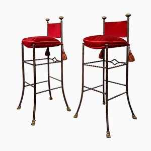 Wrought Iron and Red Belvet Barstools, 1970s, Set of 2