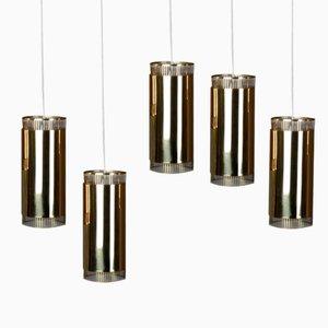 Lámparas colgantes vintage pequeñas de latón. Juego de 5