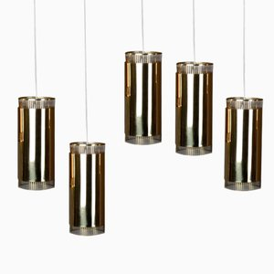 Vintage Small Brass Pendant Lights, Set of 5
