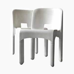 White Chairs by Joe Colombo for Kartell, 1977, Set of 2