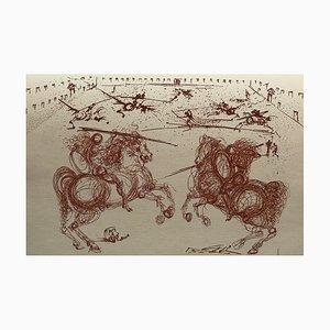 Combat de Cavalier Engraving by Salvador Dali, 1970s