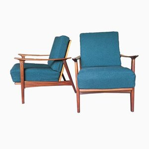 Mid-Century Danish Lounge Chair with Petrol Blue Green Sprung Cushions