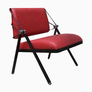 Vintage Italian Metal and Red Leather Lounge Chair from Formanova, 1970s