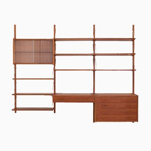 Teak Wall Unit with Desk and 2 Cabinets by Preben Sorensen for Randers Møbelfabrik, 1960s