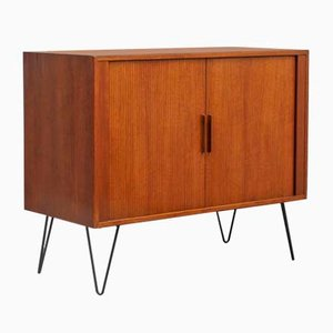 Teak Chest with Venetian Shutter Doors and Hairpin Legs, 1960s