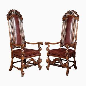 Antique Oak High Back Armchairs, Set of 2