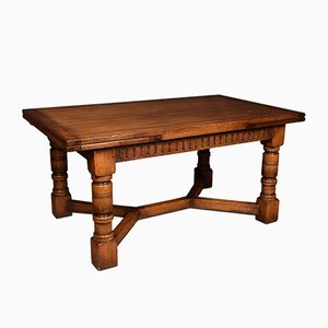 Large Antique Oak Draw Leaf Dining Table