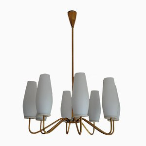 Large Brass Sputnik Chandelier from Leuchtenbau Leipzig, 1950s