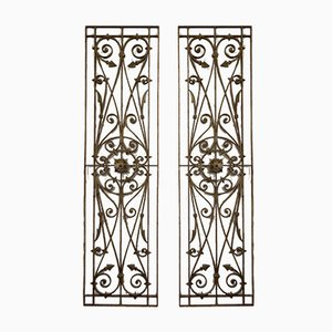 Antique Wrought Iron Window Grilles or Fence Grilles, Set of 2