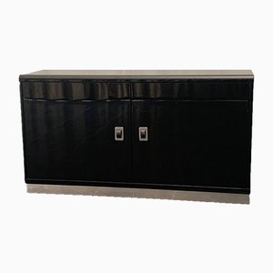 Glossy Black Lacquered Dresser with Leather Handles, 1970s