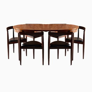 Mid-Century Danish Dinette Dining Table & Chairs Set by Hans Olsen for Frem Røjle, 1960s, Set of 7