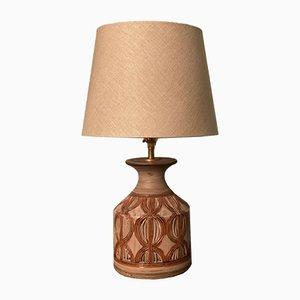 Lámpara de mesa vintage de gres marrón de Bitossi, años 60