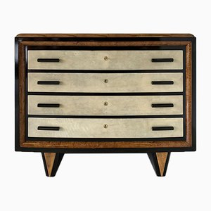Art Deco Italian Parchment, Walnut, and Black Chest of Drawers, 1930s