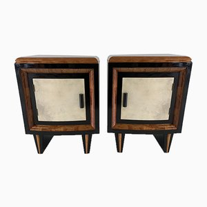Art Deco Italian Parchment, Walnut, and Black Nightstands, 1930s, Set of 2