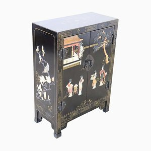 Small Vintage Lacquered Wood Cabinet with Chinoiserie Soapstone Decor, 1930s