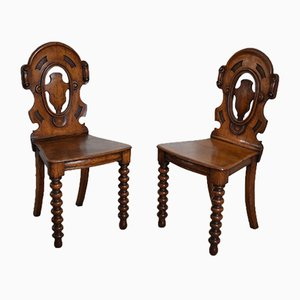 Antique Victorian Oak Shield Back Hall Chairs with Bobbin Turned Legs, 1880s, Set of 2