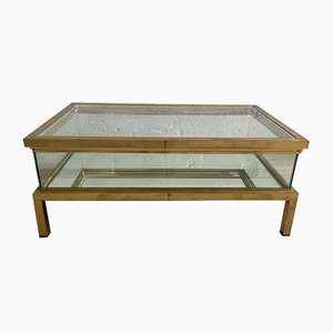 Mid-Century French Sliding Brass Top Coffee Table with Mirror Bottom, 1970s