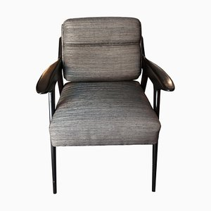 Italian Desk Chair in Ebonized Wood and Silk, 1960s