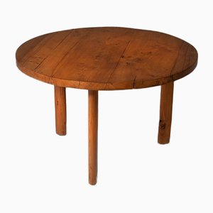 Round Solid Elm Dining Table, 1960s