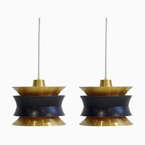 Brass Ceiling Lamps by Carl Thore / Sigurd Lindkvist for Granhaga Metallindustri, 1960s, Set of 2