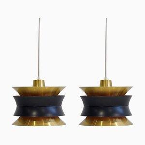 Messing Deckenlampen von Carl Thore / Sigurd Lindkvist für Granhaga Metallindustri, 1960er, 2er Set