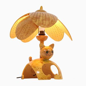 French Palm Cat Table Lamp from Valerie Ray, 1970s