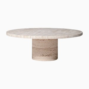 Italian Round Travertine Coffee Table from Up & Up, 1970s