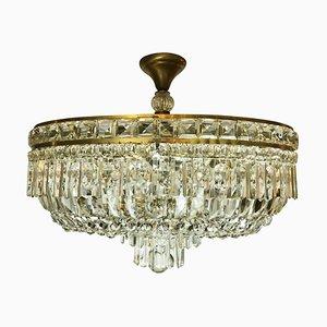 Ovale Deckenlampe aus Kristallglas, 1960er