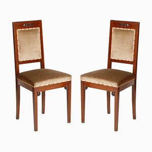 Art Nouveau Walnut and Taupe Velvet Dining Chairs from Wiener Werkstatte, Set of 2