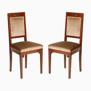 Sedie da pranzo Art Nouveau in noce e taupe di velluto di Wiener Werkstatte, set di 2