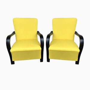 Art Deco Yellow Armchairs, 1920s, Set of 2