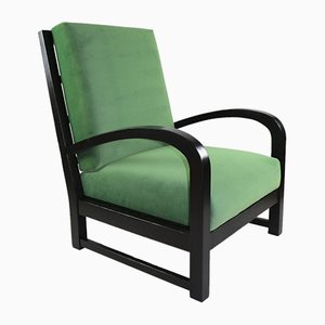 Art Deco Green Velvet Armchair, 1970s