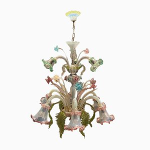 Large Vintage Multicolored Murano Glass Chandelier, 1960s