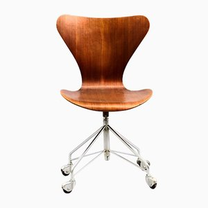 Vintage Teak Office Chair by Arne Jacobsen for Fritz Hansen, 1960s