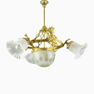 Vintage Empire Style Bronze and Frosted Glass 4-Light Chandelier, 1930s