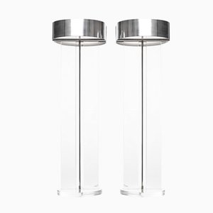 Large Mid Century Lucite Table Lamps, 1978, Set of 2