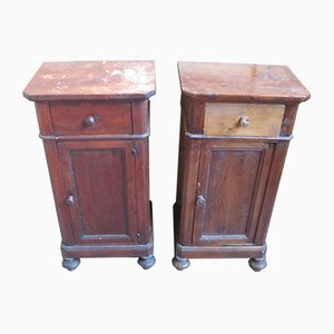 19th Century Italian Pinewood Nightstands, Set of 2